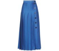 Pleated Satin-twill Midi Skirt