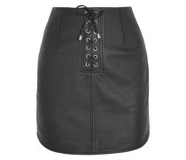Swinton textured-leather mini skirt