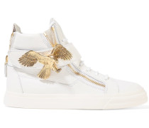 Embellished Leather High-top Sneakers Weiß
