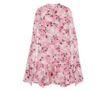 Constantinea Cape-effect Tiered Floral-print Silk-voile Dress