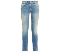 Kate Distressed Printed Mid-rise Skinny Jeans