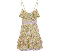 Milly Minikleid aus Voile mit Floralem Print, Häkelspitzenbesatz und Rüschen
