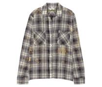 Plaid Woven Cotton Shirt Hellgrau