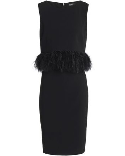 Feather And Faux Pearl-embellished Cady Dress Black