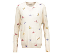 Sloane Printed Washed-silk Sweater Creme