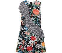 Ruffled Printed Cotton-poplin And Crepe Mini Dress Mehrfarbig