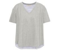 T-shirt aus Baumwollpopeline und Stretch-baumwoll-jersey mit Streifen