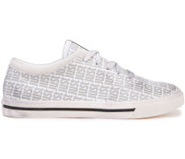 Suede-trimmed Logo-print Leather Sneakers