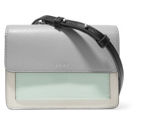 Textured, Smooth And Patent-leather Shoulder Bag Grau