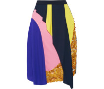 Mirage Sequined Draped Crepe Skirt Mehrfarbig