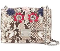 Christy Floral-appliquéd Snake-effect Leather Shoulder Bag