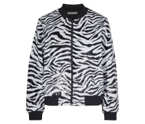 Lonnie Sequined Zebra-print Knitted Bomber Jacket