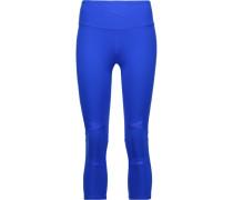Leah Cropped Mesh-trimmed Stretch-jersey Leggings Ultramarin