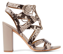 Lace-up Snake-effect Leather Sandals Taupe