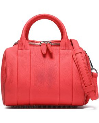 Woman Textured-leather Shoulder Bag Coral
