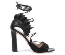 Lotus Lace-up Croc-effect And Smooth Leather Sandals Schwarz