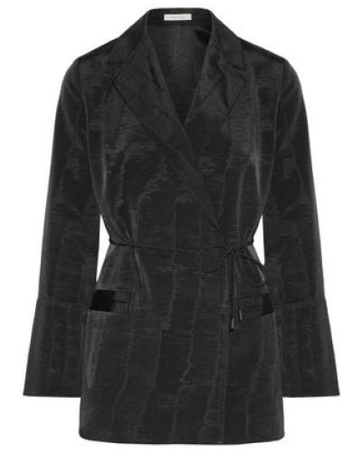 Belted Moire Blazer Black