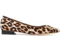 Gigi 20 Embellished Leopard-print Calf Hair Point-toe Flats