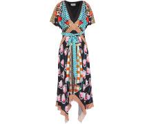 Bow-detailed Printed Twill Midi Dress