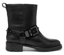 Marina Leather Biker Boots Schwarz