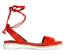 Lindy Lace-up Suede Sandals Rot