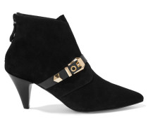 Anicia Buckled Suede Ankle Boots Schwarz