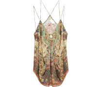 Woman Embellished Gathered Printed Silk-jacquard Camisole Pastel Yellow
