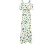 Woman Cold-shoulder Printed Cotton-gauze Maxi Dress White