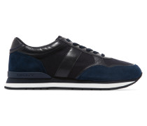 Jamie Suede, Leather And Canvas Sneakers Navy