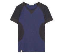 Paneled perforated stretch-knit top