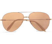Aviator-style Gold-tone Sunglasses Peach Size --