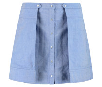 Pleated Cotton-chambray Mini Skirt Hellblau