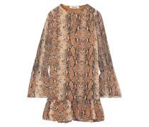 Skye Shirred Snake-print Silk-georgette Mini Dress