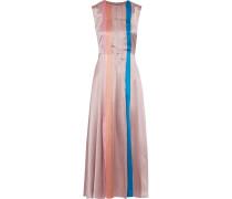Tiera Pleated Color-block Silk-satin Midi Dress