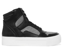 Bosley Leather And Stretch-knit High-top Sneakers Schwarz