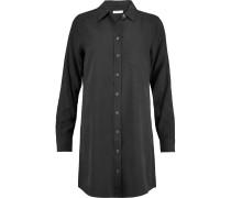 Brett Washed-silk Mini Shirt Dress Schwarz