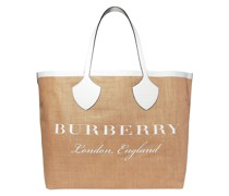 Printed Leather-trimmed Jute Tote