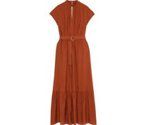 Berenice Belted Cutout Canvas Maxi Dress