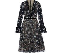 Velvet-trimmed Embroidered Tulle Midi Dress