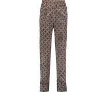 Printed satin-twill straight-leg pants