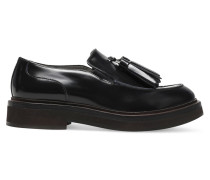 Tasseled Suede-trimmed Leather Loafers Schwarz