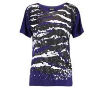 Glittered Printed Stretch-jersey T-shirt Lila