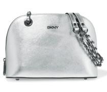 Metallic Textured-leather Shoulder Bag Silber