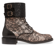 Embellished Leather And Lace Boots Schwarz