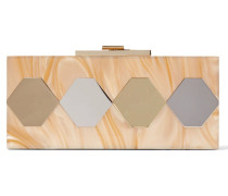 Mirrored Marble-effect Acrylic Clutch Braun
