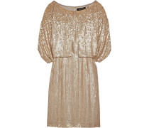 Cape-effect Sequined Silk Mini Dress Gold