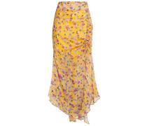 Asymmetric Gathered Floral-print Silk-chiffon Midi Skirt