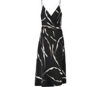 Wrap-effect printed silk-blend dress