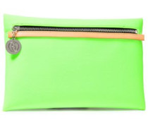 Leather-trimmed Neon Neoprene Clutch Lime Green Size --