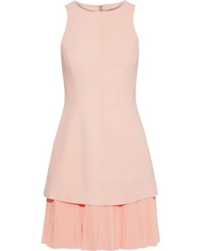 Woman Catriona Pleated Georgette-paneled Crepe Mini Dress Blush